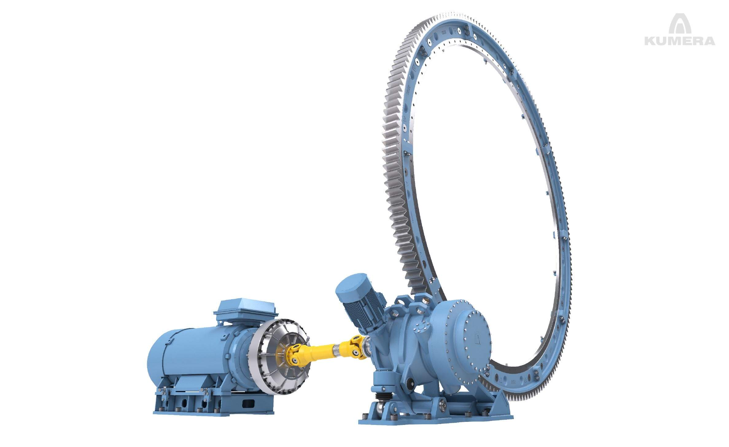 Kumera Girth Gears for Drum Drives. Kumera girth gear can be single or double pinion driven. Pinions are manufactured as a single part with an integrated shaft; however, the pinion can be separated and mounted on a separate shaft, supported by bearings, or, on the output shaft of the main gear unit.